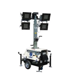 Belysningsmast, teleskopisk, hjul, inkl armatur 7m